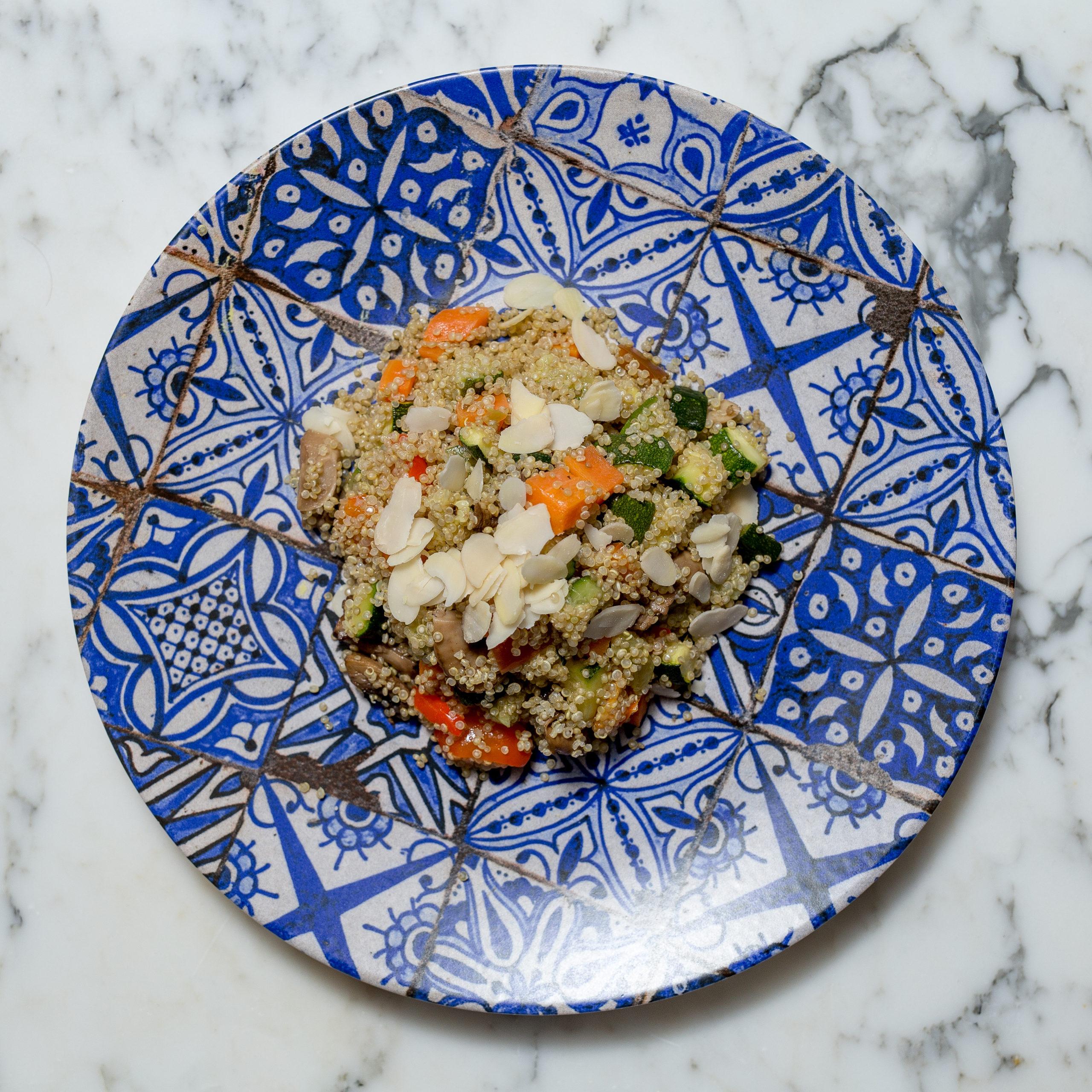 • Cous cous • Melanzane • Zucchine • Cipolla • Carote • Mandorle • Curcuma • Curry